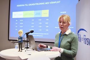 Rekryteringsmyndighetens generaldirektör Christina Malm har börjat skicka ut mönstringsunderlag till 100 000 födda 2002..
