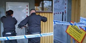 Securitasvakter var på förmiddagen på plats och tejpade ihop fönstret.