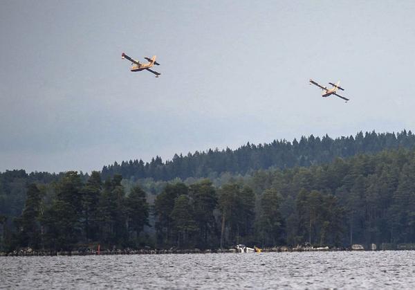 Brandflyg över Åmänningen.
