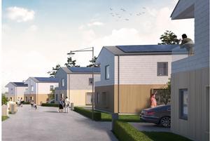 Utöver radhus kommer det finnas plats för flera fristående hus, särskilt om kravet på souterrängvåning tas bort. Illustrationen visar hur det skulle kunna se ut.Skiss: Södertälje kommun