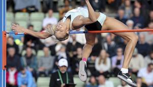 Erika Kinsey vinner höjdtävlingen på Bislettstadion i Oslo den 13 juni. För andra tävlingen i rad klarar hon 1,96. Bild: Vidar Ruud/TT.