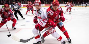 Två förgrundsfigurer i onsdagens derby mellan Timrå och Modo, Jonathan Dahlén och Patrik Karlkvist. Bild: Erik Mårtensson/Bildbyrån