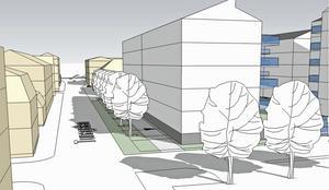 Efter kritik från närboende omarbetades detaljplanen. Bland annat sänktes våningsantalet vid Tunagatan. Illustration: Mondo Arkitekter