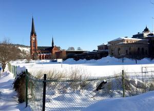 På baksidan om Hedbergska skolan vill utredarna att en ny idrottshall byggs.