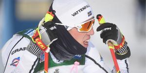 Calle Halfvarsson efter målgången i Ruka, som slutade med en tredjeplats.