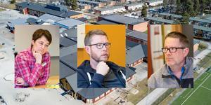 Bildmontage. Lärarna Pia Lundqvist, Staffan Lindberg och David Crawford på Vivallaskolan.