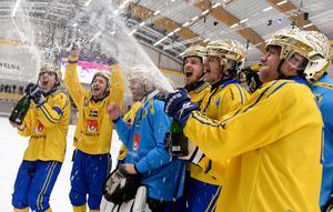 Sverige har precis vunnit VM-guld efter att ha besegrat Ryssland i finalen, Sandviken 2017. Bild: Janerik Henriksson/ TT