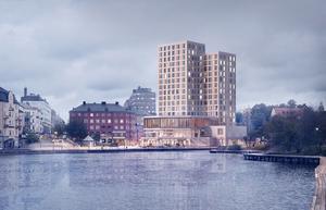 Skribenten tycker att samrådet  om hotellet vid Marenplan är meningslöst. Skiss: Södertälje kommun