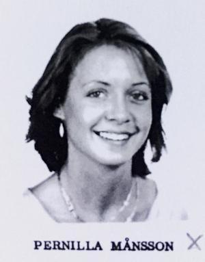 Pernilla Månsson Colt, programledare, klass H3A, Risbergska skolan läsåret 84/85.