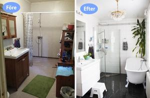 Badrummet har förvandlats och blivit både praktiskt och lyxigt. Med badkar, dusch – och kristallkrona.