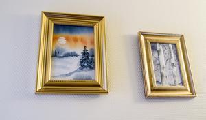 Många akvareller är motiv från naturen. När Eva Rudberg är mer erfaren hoppas hon på att måla lite mer det som är henne. Men de gamla träbyggnaderna i Arboga kommer nog komma på motiv, tror hon.