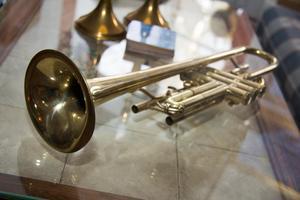 Trumpeten saknar delar och går inte att spela på, men är vacker som prydnad.