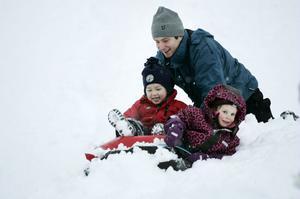 LEK. Nora Stockhaus, 4 år, och Daniel Åström, 3 år, hade roligt i pulkabacken vid Sidsjön i går. Noras pappa Fredrik Jonasson puttade på och hjälpte barnen att ta sig ur drivorna.