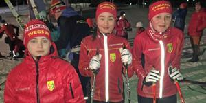 Skidskyttar till riksfinal: Jonas Matyyuk, Ellen Rydhult och Wilma Helmersson från Svegs IK.
