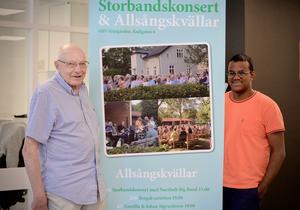 Bengt Isaksson med barnbarnet Karl Isaksson bjuder in till storbandskonsert och allsångskvällar.