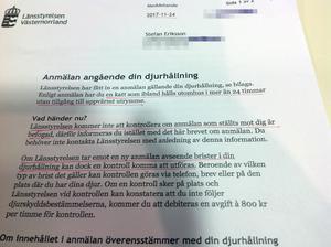 Katten, som Stefan Eriksson inte har, utreds för närvarande av länsstyrelsen. Länsstyrelsens brev till Stefan Eriksson.Bild: Stefan Eriksson.
