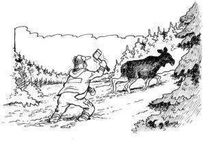 Danne Persson kunde springa i kapp den skadade älgen och med bara ett slag av yxan var saken klar och älgen slapp lida mer.