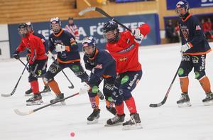 Lukas Ahlqvist i Edsbyn testar skottlyckan. Bollnäs unga garde fick lägga det mesta av sin energi i defensiven.