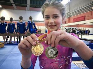 Ett guld och ett silver blev det för Maia Luotsinen, Borlänge GK. Foto: Privat