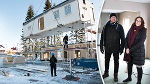 Det tog bara några timmar att montera ihop Malin och Ulf Sundelins nya hus som byggts i en fabrik i Småland – och redan på eftermiddagen kunde de gå in i det för första gången.