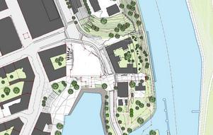 Så här såg kommunens tidigare planer för kvarteret Lyran, i folkmun mer känd som Sorbonparkeringen nedanför Orionkullen, ut med ett höghus. Bostadsplanerna finns kvar men det är inte bestämt hur det ska se ut utan man gör ett omtag av planerna.Skiss: Södertälje kommun