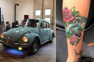 En ljusblå WV-bubbla finns både i garaget och på armen.
