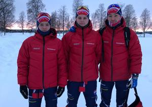 Lucas Lennartsson med klubbkompisarna Marcus Lennartsson (lillebror till Lucas) och Adam Gillman i Piteå. Foto: Privat