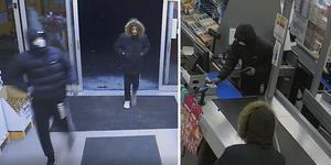 Här är skärmklipp på rånarna från butikens övervakningskamera.