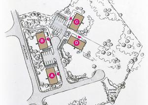 En situationskarta över den första etappen i Lilla Skogenområdet, norr om E16-RV70-rondellen i Djurås. Illustration: Katarina Hultqvist