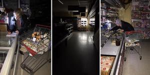 Ica nära Gräddö skärgårdshandel är stängd pga strömavbrott efter stormen Alfrida. Under fredagen väntas ett reservaggregat anlända från Gnesta. Personalen tömmer frysar där varorna blivit dåliga. Foto: Maria Törnqvist