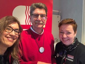 Moderator Ann-Louise Rönestål Ek med Michael Tjernström och Sofia Möller Skog, Folkuniversitetet Dalarna.
