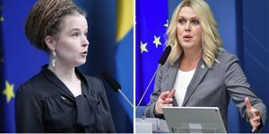 Kultur- och demokratiminister Amanda Lind samt socialminister Lena Hallengren.