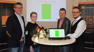 Lars Österlund, Övikshems vd, Felix Andersson, kommunalråd Per Nylén och Håkan Gunnarsson, Övik Energi.