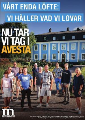 Valrörelsens största annons i Dalarna gick (liggande) på sidorna 10-11 i Avesta Tidning.