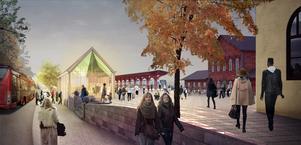 En visualisering av hur stationspaviljongen med vänthall kan komma att se ut. Skiss: Marge Arkitekter.