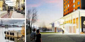 Mer påhittiga projekt behövs för att locka turister till Härnösand och gynna företagarna i stan, anser insändarskribenten. Foto: TM Konsult, Tyréns och Gunnar Stattin. Montage: Birgitta Strandh.
