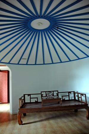 Bild: Katarina Lönnberg Taket ut i det mongoliska hotellrummet. Bild: Katarina