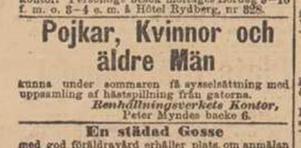 En annons i Dagens Nyheter  1897. Foto: Kungliga biblioteket.