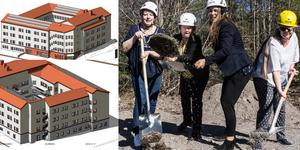 Första spadtaget för nya äldreboendet. Det är planerat med soutterängplan för personalrum, samlingssal, kök och teknikrum. Varje våningsplan får sedan 20 lägenheter. Illustration: Sweco.