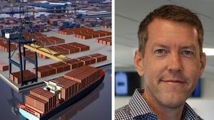 Foto: Yilport– I dag tvingas vi tacka nej till kontrakt för att vi inte kan ta emot livsmedel, men framöver ska vi kunna lossa sådana containrar i Gävle hamn och köra ner dem med tåg till järnvägsterminalen Stockholm nord som vi också äger, säger Håkan Bergström som är försäljningschef på Yilport.