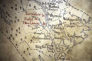 Gammal karta över Ångermanland med Torsåkers kyrka utmärkt. Arkivbild.