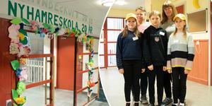 Nyhamre skola hade öppet hus när man firade 20 år. Maria Nikarnosson, Maria Lindström och eleverna Alice Lind, Wille Kaneskär och Emily Olsson välkomnade.
