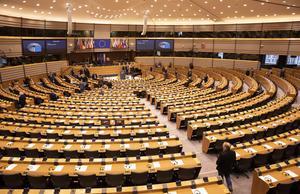De 20 svenska EU-parlamentarikerna får sällskap av ytterligare en svensk ledamot i Europaparlamentet i Bryssel. Foto: Virginia Mayo / AP