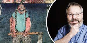 Socker-Conny med skaparen Joakim Pirinen. Han var 23 år gammal när han tecknade den otroligt detaljerade historien. Bild: Kartago/Caroline Andersson.