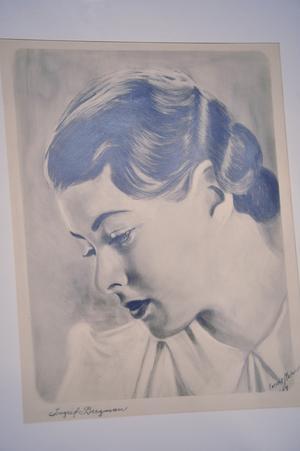 Teckningstävlingen där Connie Dellkrantz var en av vinnarna gick ut på att avbilda Ingrid Bergman, här är Connies bidrag. Foto: Arkiv