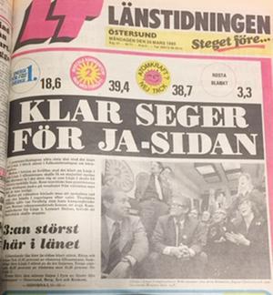 LT dagen efter omröstningen, 23/3 1980.