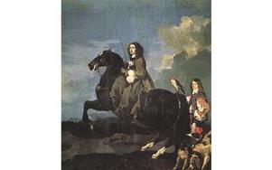 Drottning Christina på hästryggen. Oljemålning.