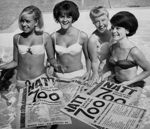 Natt 700. Bilden togs under 1965 när Örebro firade sitt 700 års-jubileum. Tjejerna på bilden är:  Eva Gerdin, Eva Strandin, Britt-Marie Gerdin och Solveig Kindahl.