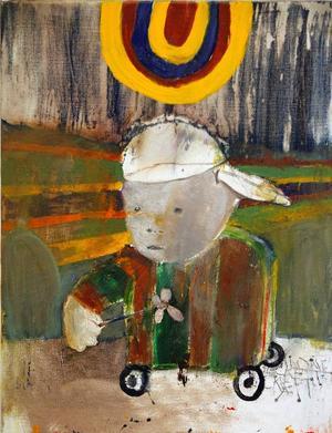 Goya, Poe, Beckett, Bulgakov och andras verk finns i bakgrunden som inspiration till många målningarna.När Leif Mattsson tog mc-kort började han rita småpojkar på hjul i olika former, som den här lille skejtaren.