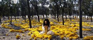 Mahdokkth stickar.  En kvinna som inte orkar längre. Från en av Shirin Neshats filmer som året ut och hela januari visas på Kulturhuset i Stockholm.